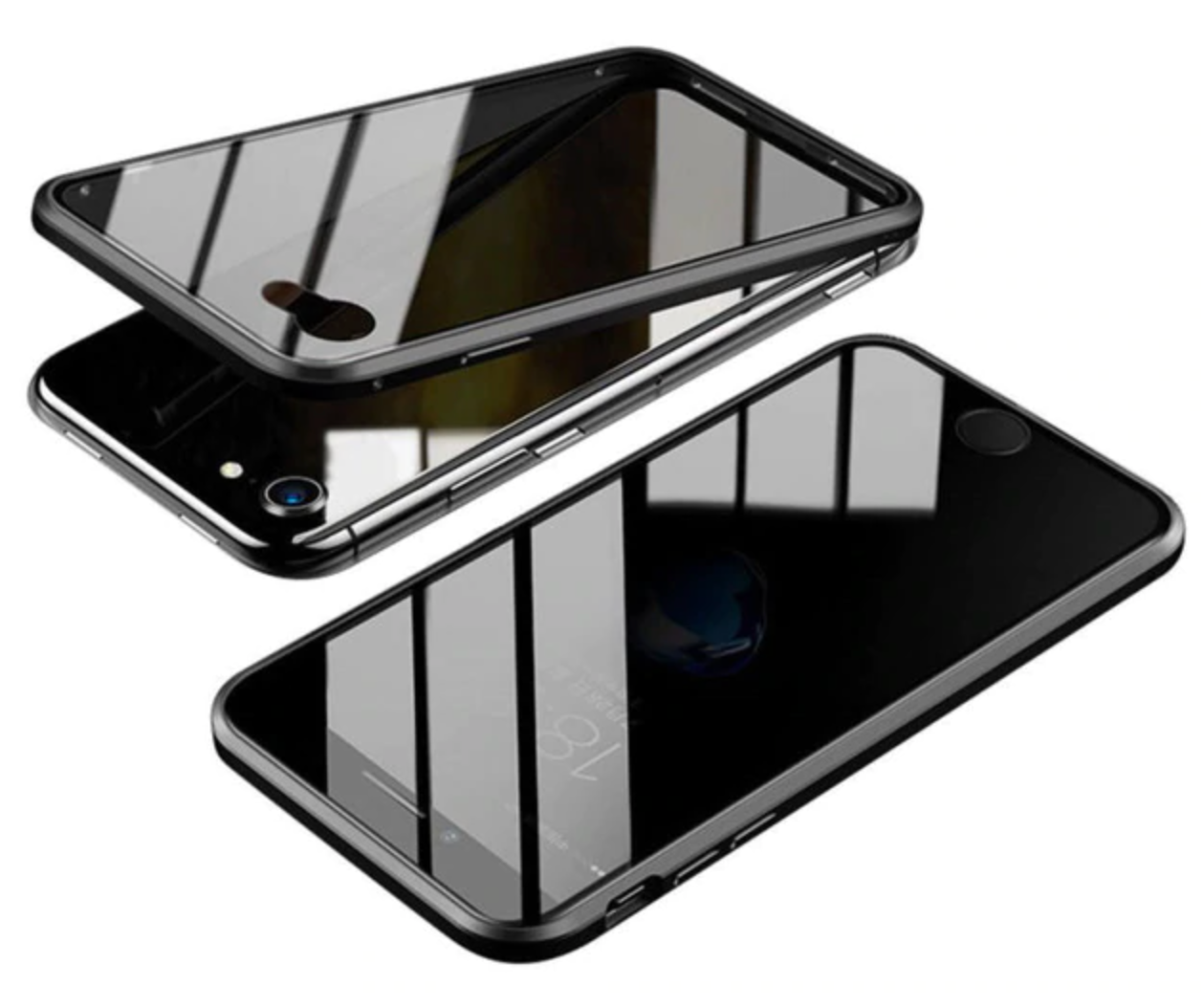 Tempered Privacy Front Glass Magnetic Metal Case For IPhone