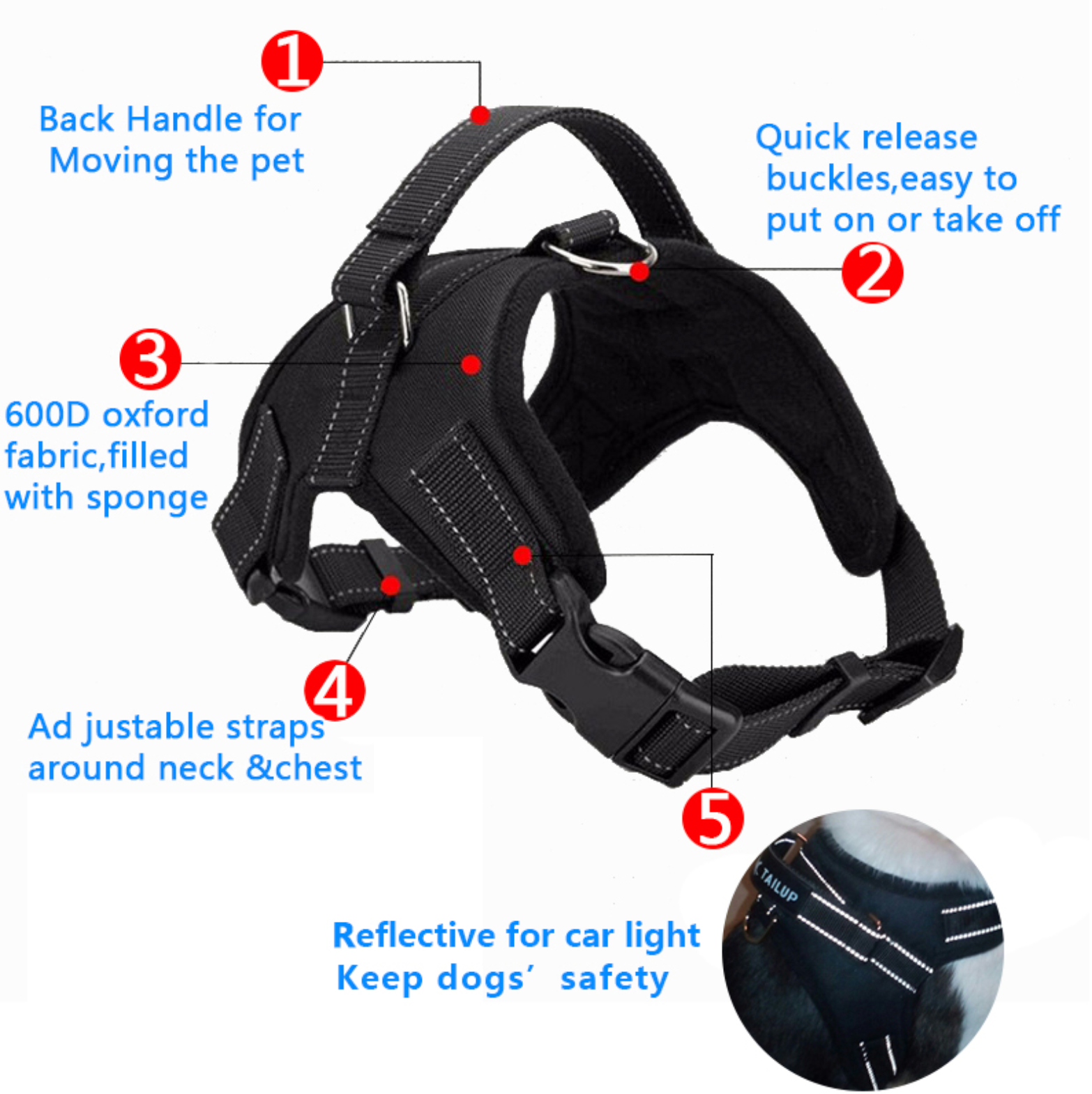 Easy Walk Adjustable Dog Harness With Guide Handle And Leash Ring