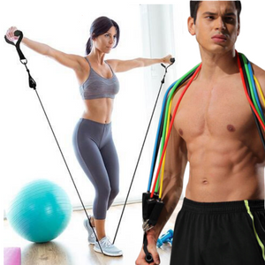Workout Resistance Bands Exercise Elastic Tube Set Stretch Fitness