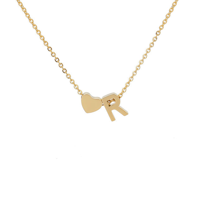 Letter Initial Necklace Pendant R