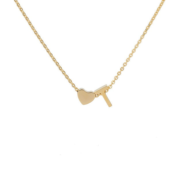 Letter Initial Necklace Pendant T
