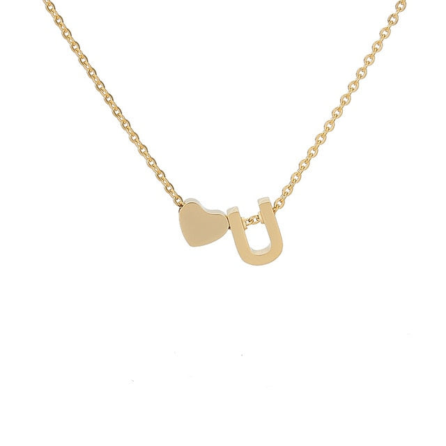 Letter Initial Necklace Pendant U