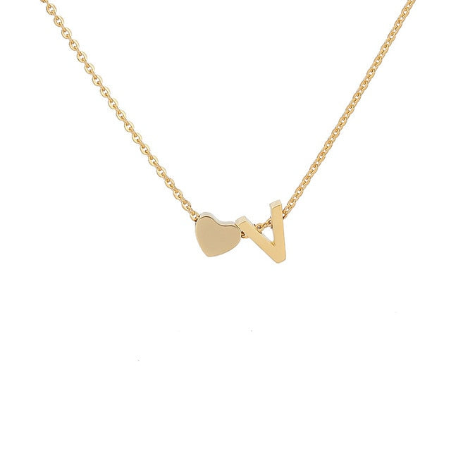 Letter Initial Necklace Pendant V