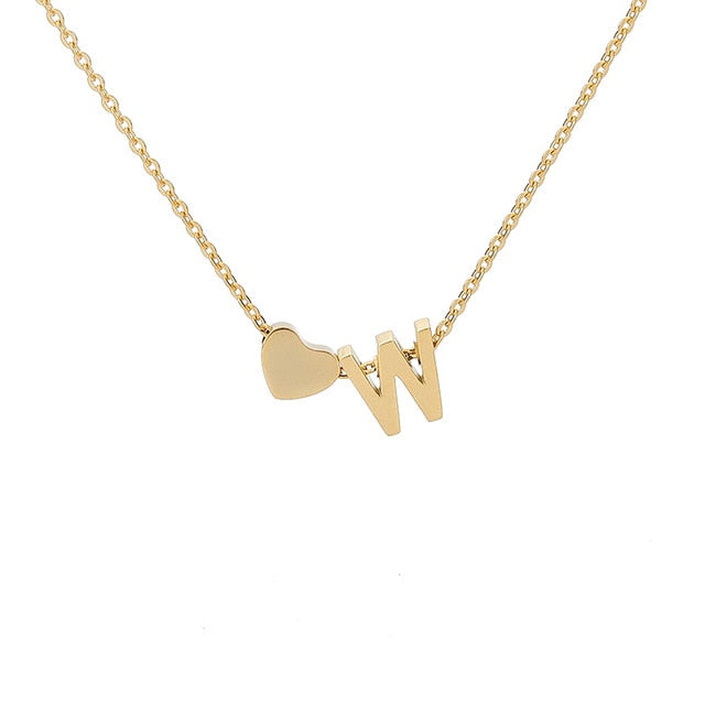 Letter Initial Necklace Pendant W