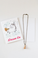 Unicorn Tassel Necklace on Greeting Card