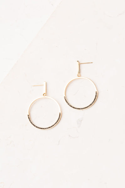 Suzie--Black and gold hoop earrings
