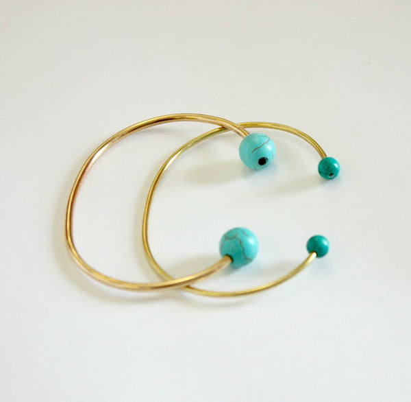 Gold Bangle with Small Turquoise Beads