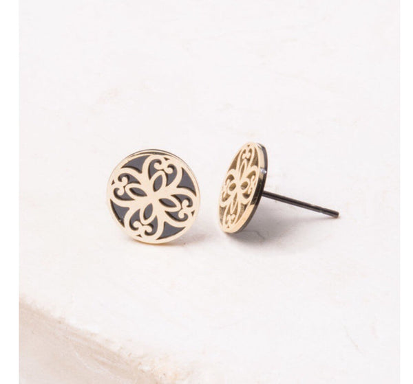 Maile Black circle stud earrings