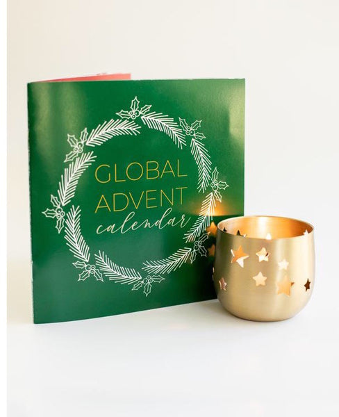 Global Advent Calendar Booklet + Gold votive candle holder and candle
