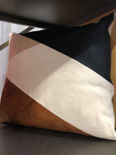 Leather and Canvas Pillow Case with insert