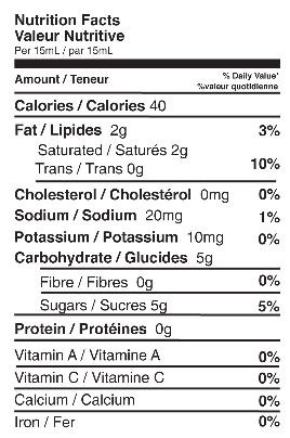 Coconut Caramel Nutrition Fact Sheet