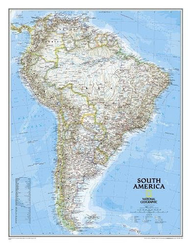 National Geographic: South America Classic Enlarged Wall Map - Laminated (35.75 X 46.25 Inches) (National Geographic Reference Map)