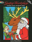Santa'S Workshop Stained Glass Coloring Book (Holiday Stained Glass Coloring Book)