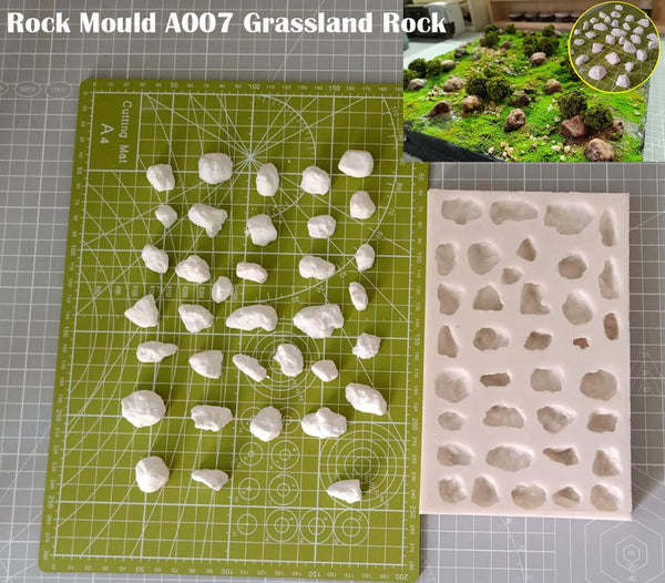 Miniature  Rock Mould  A007 Grassland Rock