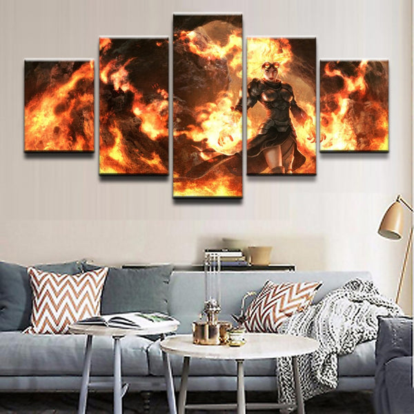 Modular Pictures 5 Panel Gathering Magic Game Painting Armor Flame Goggles Woman Poster Canvas Wall Art Modern Decor Bedroom