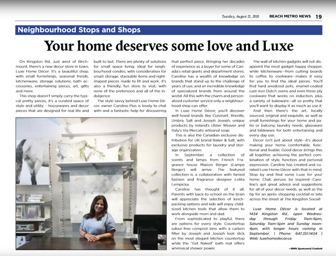 "We Made the Beach Metro News! ""Your Home Deserves Some Love and Luxe"""