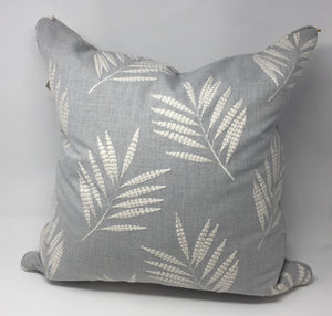 Grey Linen with Fern Panorama Embroidery
