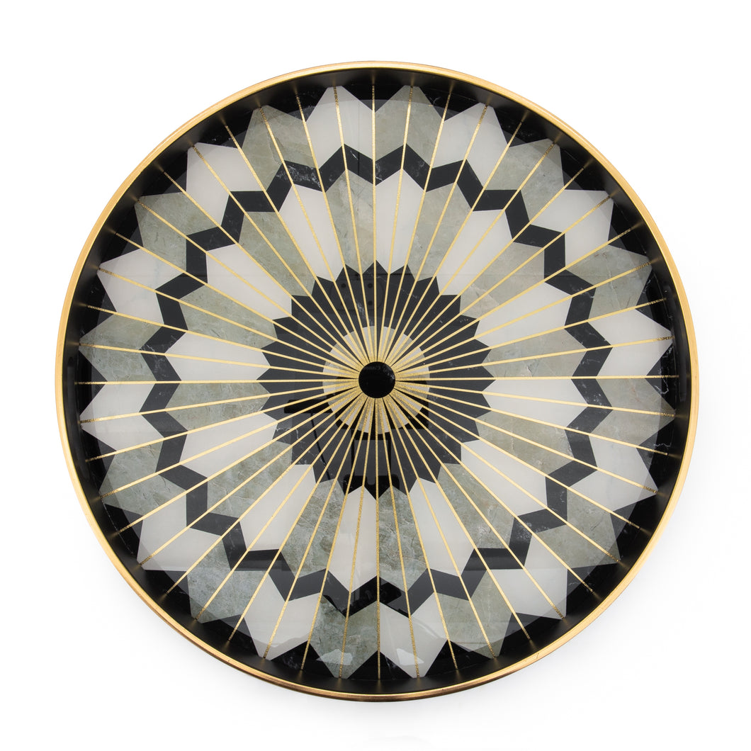 Luxe Curated | Savoy Gold Trim Round Serving Tray - Mosaic