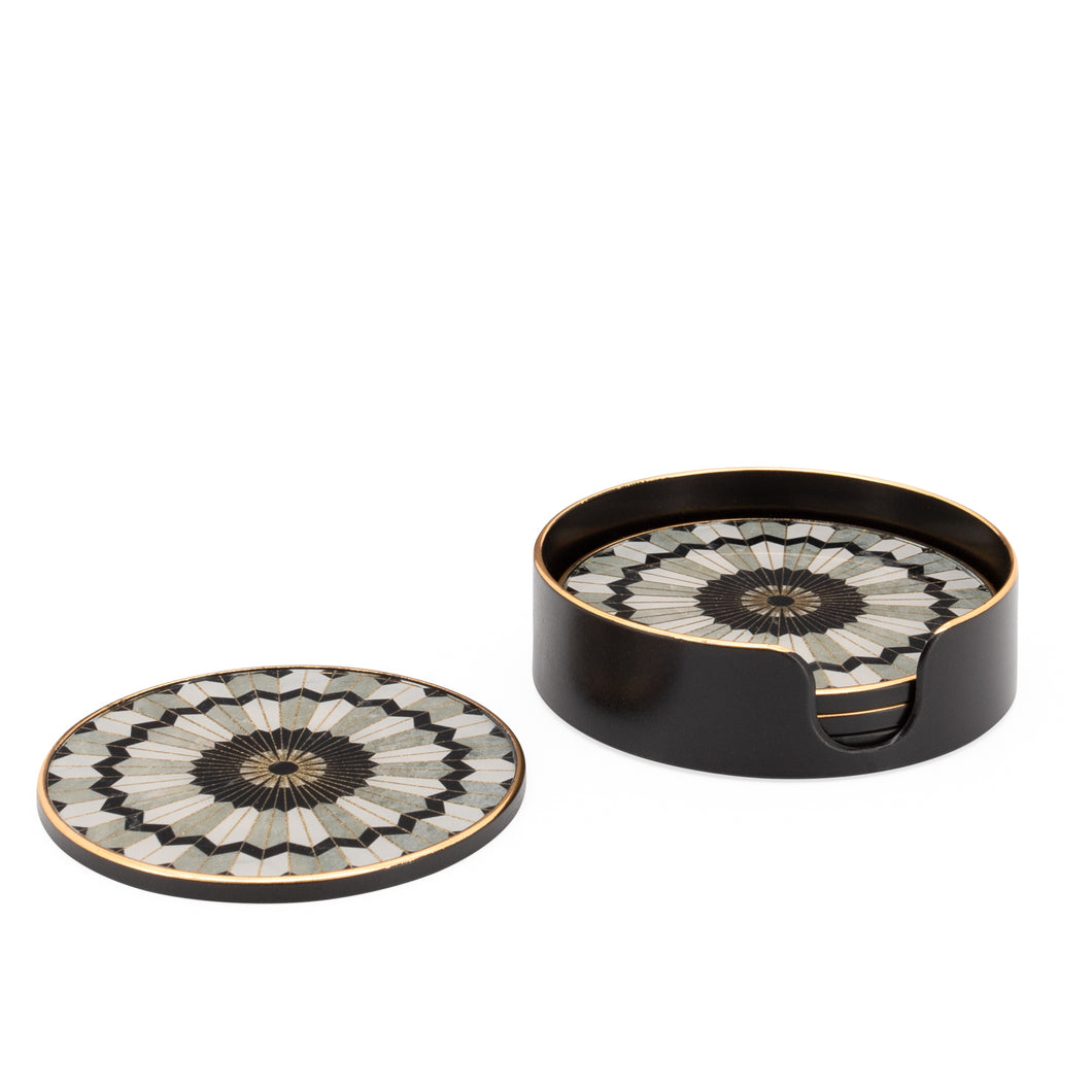 Luxe Curated | Savoy Gold Trim 4 Piece Round Coaster Set - Mosaic