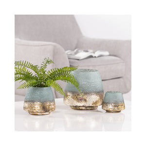 Cambria Sea green Metallic Etched Glass Vase Candle Holder