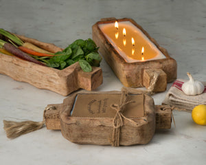 Himalayan Handmade Candles | Driftwood Tray, Ginger Patchouli