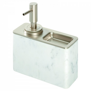 iDesign | White Marble Soap Pump w/Ring Tray