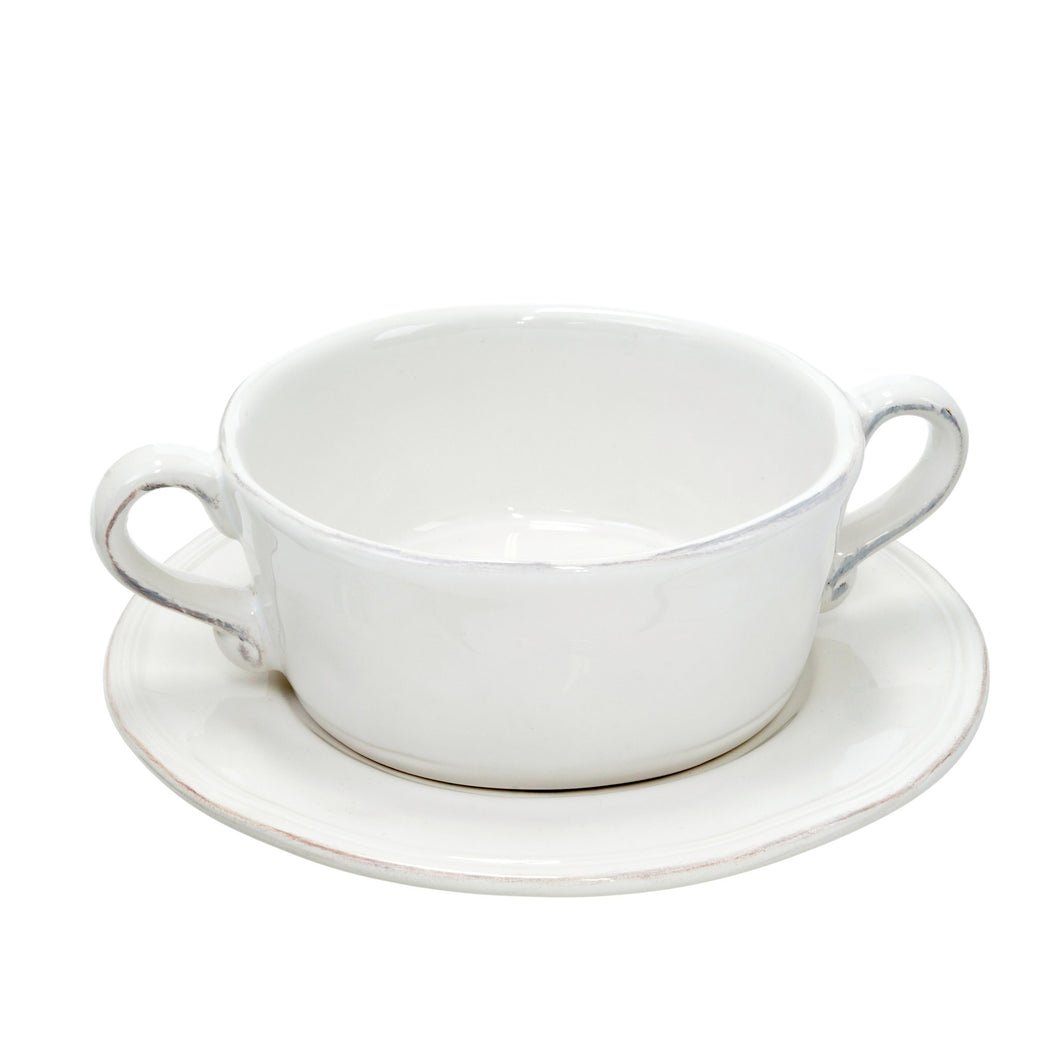 Ceres White Breakfast/Soup Bowl & Saucer