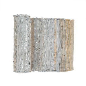 Luxe Home Décor | Leather Chindi Table Runner in Silver