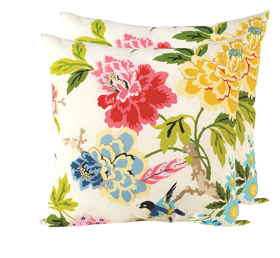 Rosemary & Time | Outdoor Pillow - Floral/Bluebird