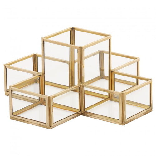 Luxe Curated | Pencil Holder, Glass & Brass