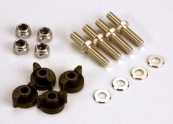 Traxxas Anchoring pins with locknuts (4)/ plastic thumbscrews for upper deck (4)