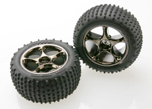 Traxxas Tires  and  wheels, assembled (Tracer 2.2' black chrome wheels, Alias 2.2' tires) (2) (Bandit rear, medium compound with foam inserts) (TSM rated)