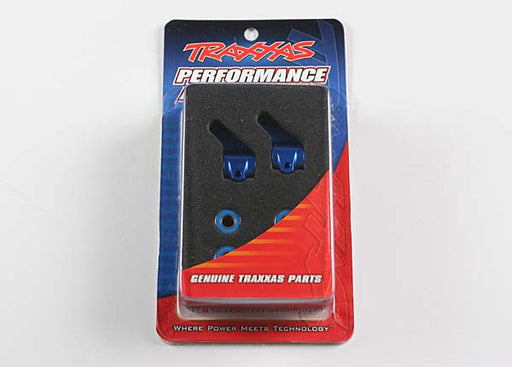 Traxxas Steering blocks, Rustler/Stampede/Bandit (2), 6061-T6 aluminum (blue-anodized)/ 5x11mm ball bearings (4)