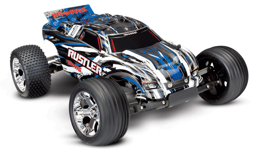 Traxxas Rustler: 1/10 Scale Stadium Truck with TQ 2.4 GHz radio system BLUE_X