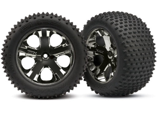 Traxxas Tires  and  wheels, assembled, glued (2.8') (All-Star black chrome wheels, Alias tires, foam inserts) (rear) (2) (TSM rated)