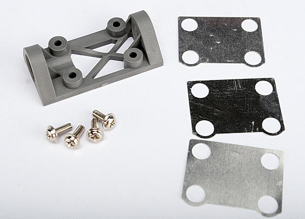 Traxxas Bearing block, front (supports front shaft) (grey) / belt tension adjustment shims (front / middle) / screws