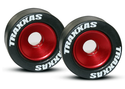 Traxxas Wheels, aluminum (red-anodized) (2)/ 5x8mm ball bearings (4)/ axles (2)/ rubber tires (2)