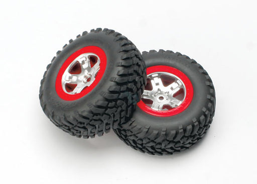 Traxxas Tires  and  wheels, assembled, glued (SCT satin chrome, red-beadlock style wheels, SCT off-road tires, foam inserts) (2) (4WD front/rear, 2WD rear only)