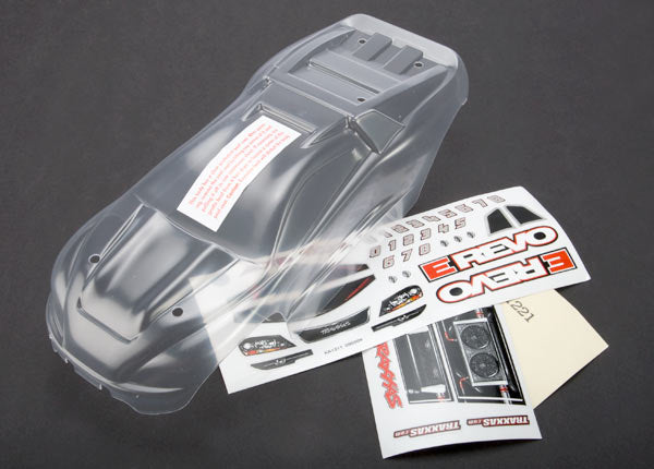 Traxxas Body, 1/16 E-Revo (clear, requires painting)/ grill and lights decal sheet