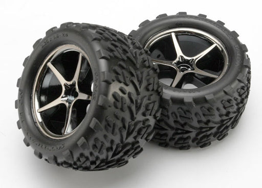 Traxxas Tires and wheels, assembled, glued (Gemini black chrome wheels, Talon tires, foam inserts) (2)