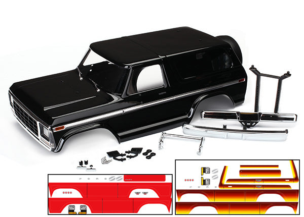 Traxxas Body, Ford Bronco, complete (black) (includes front and rear bumpers, push bar, rear body mount, grill, side mirrors, door handles, windshield wipers, spare tire mount, red and sunset decals) (requires #8072 inner fenders)