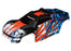 Traxxas Body, E-Revo, orange/ window, grill, lights decal sheet (assembled with front  and  rear body mounts and rear body support for clipless mounting)