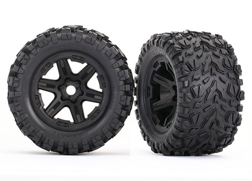 Traxxas Tires  and  wheels, assembled, glued (black wheels, Talon EXT tires, foam inserts) (2) (17mm splined) (TSM rated)