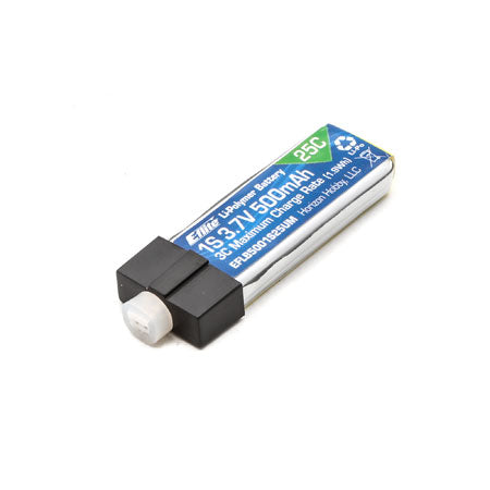 Eflite 500mAh 1S 3.7V 25C LiPo High Current UMX Connector