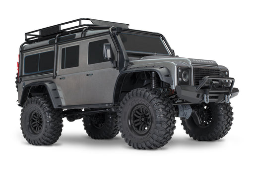Traxxas TRX-4 Scale and Trail Crawler with Land Rover® Defender® Body:  4WD Electric Trail Truck with TQi Silver