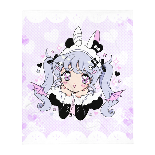 Heartpuff Maid Devil Throw Blanket