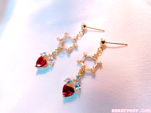 Load image into Gallery viewer, Ruby Heart Earrings