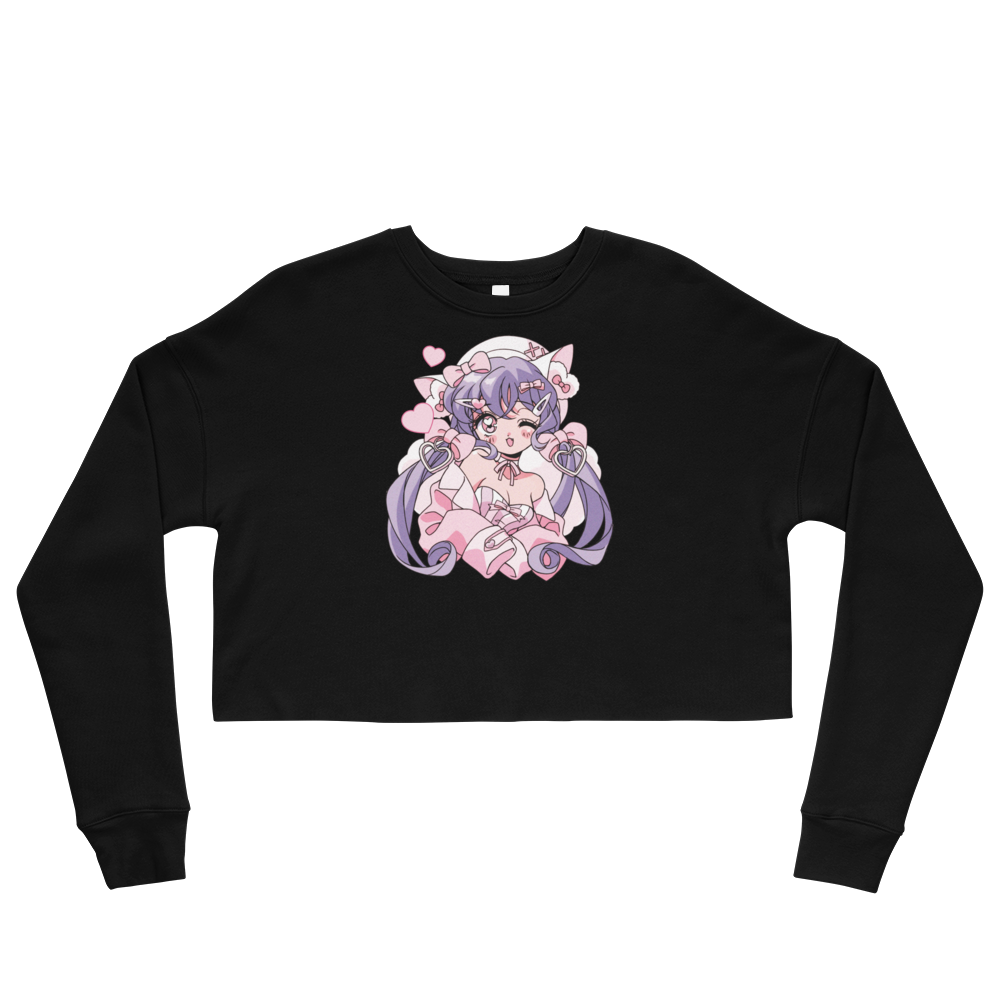 Heartpuff Kitty Cropped Sweatshirt