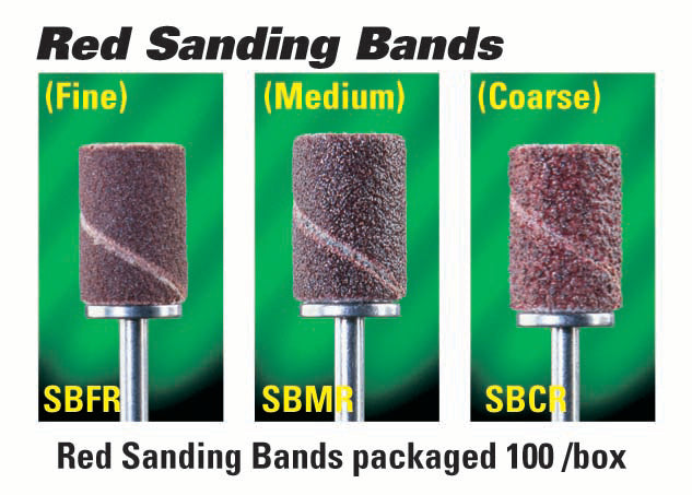 Red Medicool sanding bands course, medium, and fine in packaging