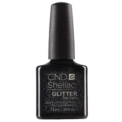 Bottle of .25oz Shellac Glitter Top Coat